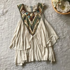 Free People Embroidered Beaded Tank